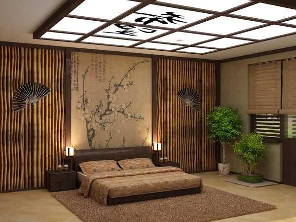 Chambre décoration japonaise avec bonsai